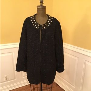 New Chico's Black Embellished Blazer/Jacket